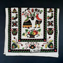 Vintage Pennsylvania Dutch Linen Tea Towel Parisian Prints NEW OLD STOCK - $7.99