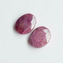 Natural Ruby Gemstone Cabochon 20 Cts Matching Pair Faceted Cut Gem R28086 - $9.69