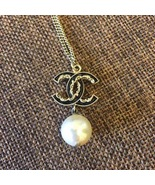 AUTH CHANEL GOLD BLACK CC PENDANT PEARL CC NECKLACE CLASSIC  - $499.99