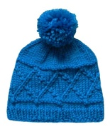 Closet Values Baby Girls 6-12 Mos. Teal Blue Knit Pom Pom Hat - $10.99