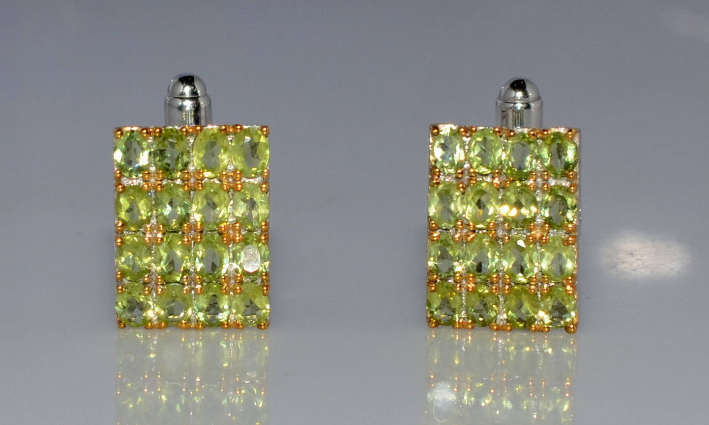 925 Sterling Silver Natural Fine Peridot Gemstone Handmade Front Gold Plated Des