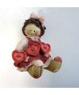 Enesco Cute As A Button Patchwork Girl with String of Hearts - Mary Rhyn... - $12.99
