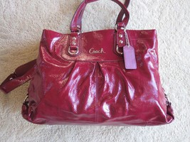 COACH Ashley dark burgundy Patent Leather Carryall 2 way Tote Handbag EUC - $89.99
