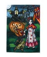 original aceo art witch girl demon pumpkin Halloween black cat moon mini... - $12.99