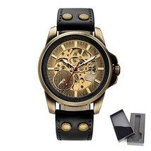 SHENHUA 2018 Vintage Bronze Watch Steampunk Skeleton Mechanical Male Clock Autom image 3