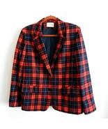 Pendelton Womens Sz M Red Tartan Plaid Blazer 100% Wool Lined Front Pockets - $45.50