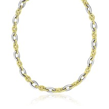 14k Two-Tone Gold Textured and Smooth Oval Chain Necklace - $1,854.76