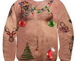 uideazone Men Women 3d Ugly Christmas Chest Hair Sweater Funny X-mas Party Graph