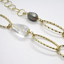 SILVER 925 NECKLACE, YELLOW, ONYX, PEARLS GREY, OVALS TWISTED, 95 CM image 4