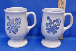 Set 2 Pfaltzgraff Yorktowne Pedestal Coffee Mugs Cups w/ Handles Blue Fl... - $11.87