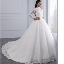 High Victorian Lace Neckline Illusion Back Long Sleeve Luxury Lace Ball Wedding