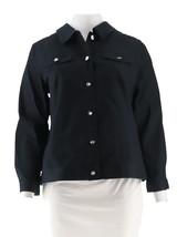 Denim Co Stretch Twill Jean Jacket Bling Buttons Pckts Dark Indigo M NEW... - $27.70