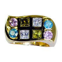 adorable Multi CZ Gold Plated Multi Ring genuine exporter US gift - $29.99