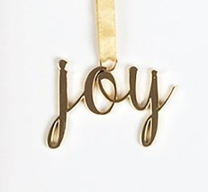 Gold Colored Metal Joy Ornament