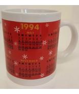 1994 Calendar COFFEE MUG Red Gift Birth Year Graduation Vintage Annivers... - $19.79