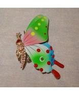 Butterfly Brooch Painted  Lapel Hat Pin Badge Korea Metal Pink Green Spots - $9.99