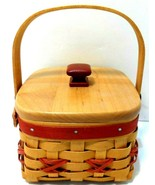 Longaberger 2000 Let It Snow Tree Trimming Basket, Red, handle with lid ... - $29.01