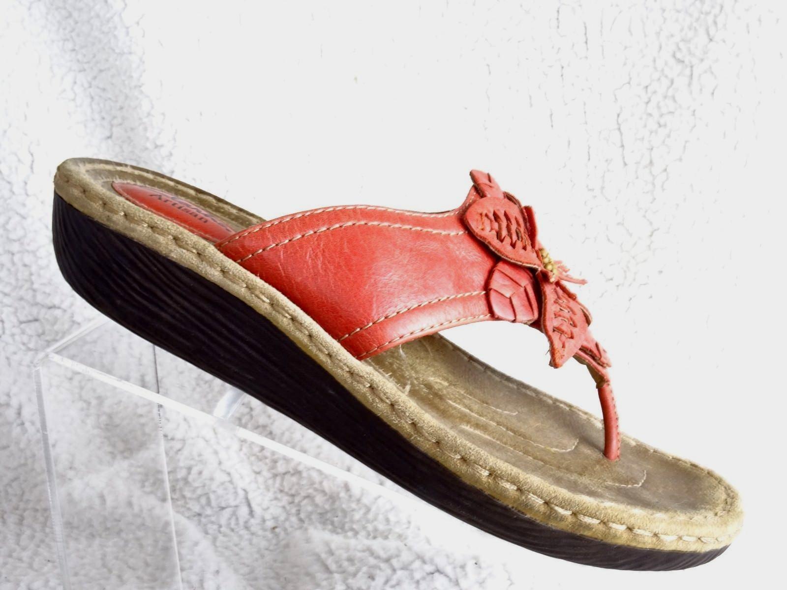 4f284a64afb 57. 57. Previous. Clarks Artisan Latin Palm Salmon Wedge Flip Flops Thongs  Womens 10M Sandals