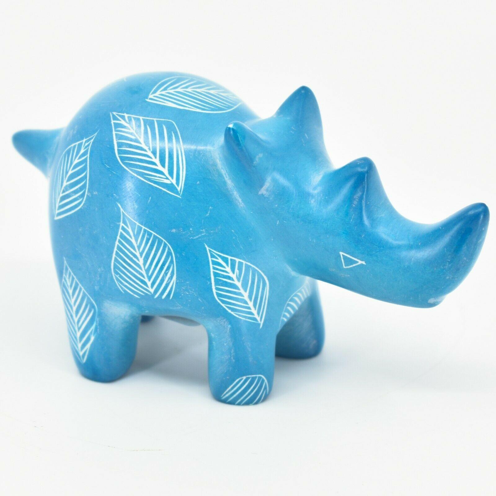 Vaneal Group Hand Carved Kisii Soapstone Sky Blue Rhinoceros Rhino Figurine