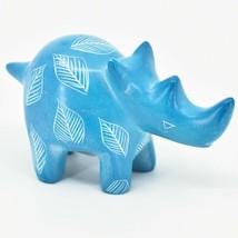 Vaneal Group Hand Carved Kisii Soapstone Sky Blue Rhinoceros Rhino Figurine image 1