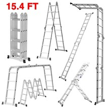 15.4ft Ladder,Heavy Duty Multi Purpose Aluminum Folding Extension 330lb ... - $157.89