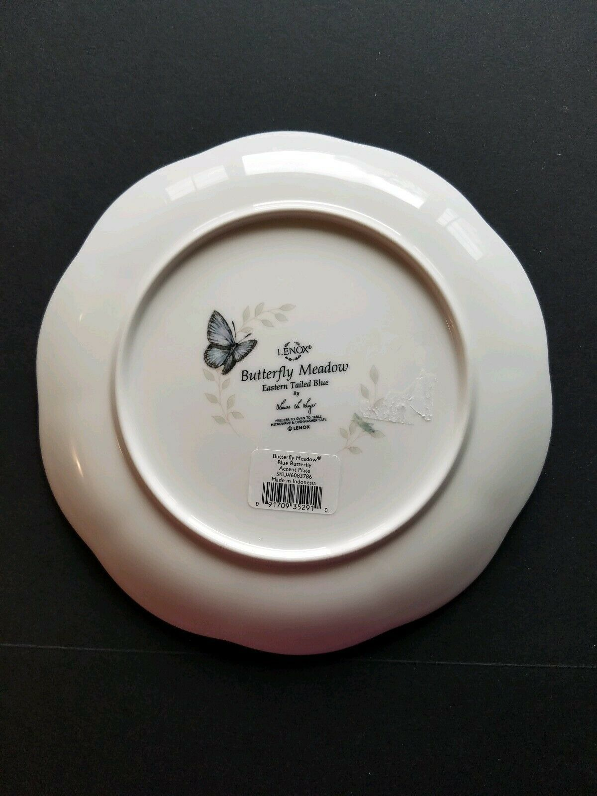 """Lenox 6 Butterfly Meadow Accent Plate 9"""" Dragonfly Eastern Tailed Blue Monarch"""