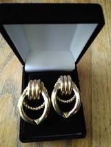 Vintage Gold Tone Large Hoop Statement Pipe Braid Earrings - $29.99