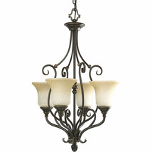 Bronze Kensington Collection Swirled caramel finish glass Chandelier P34... - $182.86
