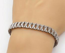 925 Sterling Silver - Vintage Genuine Diamonds X Pattern Chain Bracelet ... - $89.67