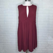New ASOS Size 14 Plus Burgundy Red Dress Pleated Keyhole Neck Cocktail H... - $55.93