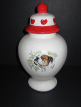 English Bulldog Cookie Jar Decorated with Hearts. - $49.98