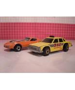 Hot Wheels 1982 USA Taxi Malibu + 1980 Corvette Stingray Orange with Rib... - $10.80