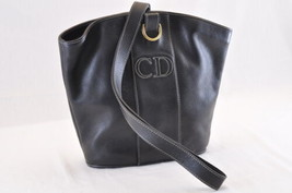 Christian Dior Leather Shoulder Bag Black Auth ar741 - $280.00