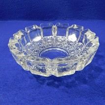 Vintage Clear Glass Panel Bowl Ashtray Candy Brush Dish Heavy Flower Bottom - $14.50
