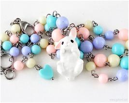 White Bunny Necklace, Pastel Jewelry, Fairy Kei, Kawaii Jewelry, Easter - $28.00