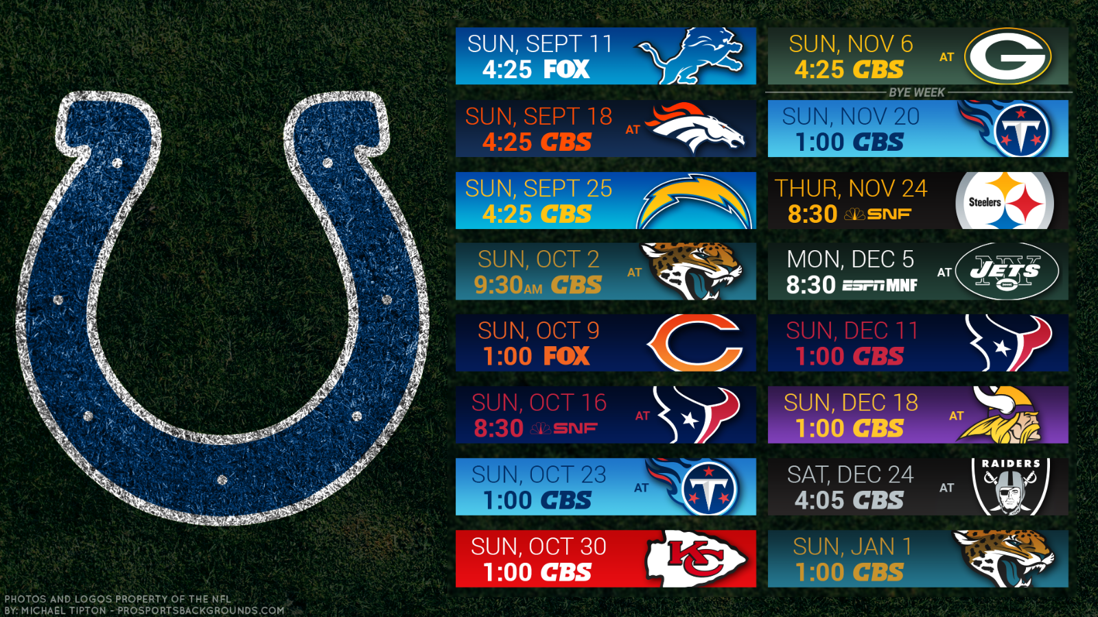 Primary image for Indianapolis Colts 2017 NFL Schedule turf Poster 24 X 36 inch
