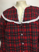 Lanz of Salzburg Womens M Red Plaid Cotton Flannel Long Nightgown - $43.61