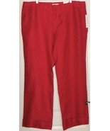 NWT Coldwater Creek Herringbone LINEN Pants RED Size 20 WIDE LEG Retail ... - $55.90
