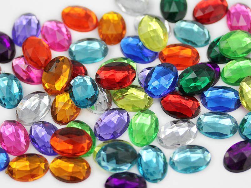 8x6mm Pink Fuchsia A27 Flat Back Oval Acrylic Gemstones 100 PCS