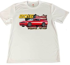 2016 Dodge Challenger SRT Hellcat Wicking T-Shirt w American Flag Car Co... - $14.80+