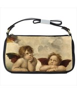 Winged Angels Cherubs Raphael Art Black Shoulder Clutch Bag Purse - $35.99