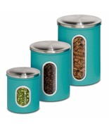Canisters Sets For The Kitchen Coffee Tea Sugar Jars Metal Storage Conta... - $33.77