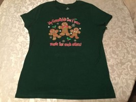 Ladies-Holiday shirt-Size-large-12-14 - slim fit - green gingerbread shirt - $18.79