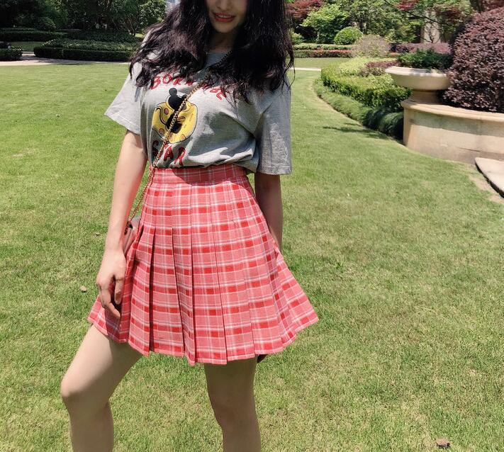 Pleated plaid skirt pink green blue  18