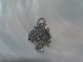 Estate Avon Signed Silvertone & Faux Marcasite Spring Flower Basket Hat ... - $8.59