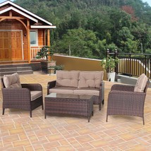 Patio Clearance Furniture Set Outdoor Rattan Loveseat Coffee Table Chair... - $502.20