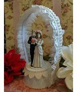 Unique Hand Crafted Wedding Cake Topper Center Piece w/ Bride Groom Figu... - $45.49