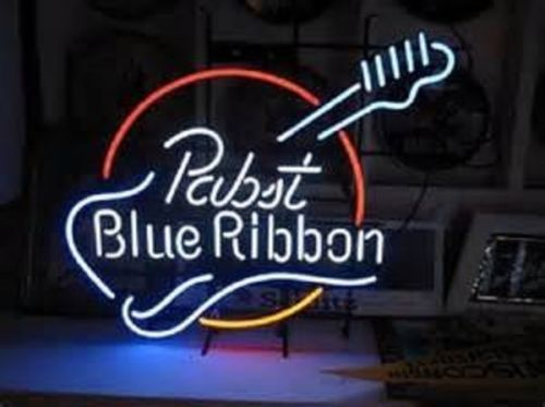 """New Pabst Blue Ribbon Guitar Beer Lager Neon Light Sign 24""""x20"""""""