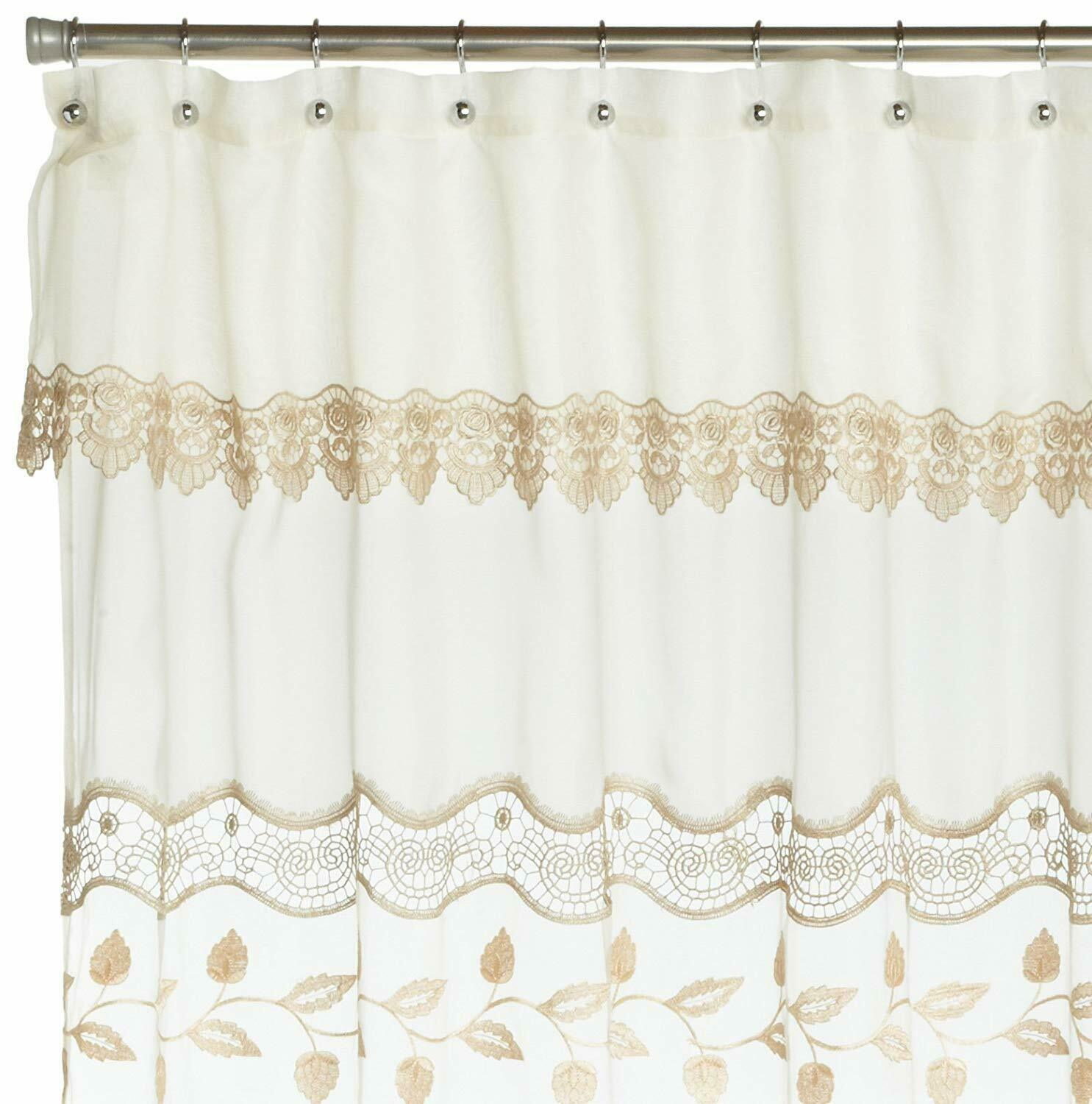 Seville Embroidered Shower Curtain, Ecru, by Lorraine Home Fashions