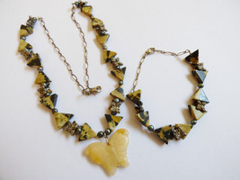 Set of 2 Silver tone carved Butterfly jasper Triangle beads Necklace & Bracelet - $27.72